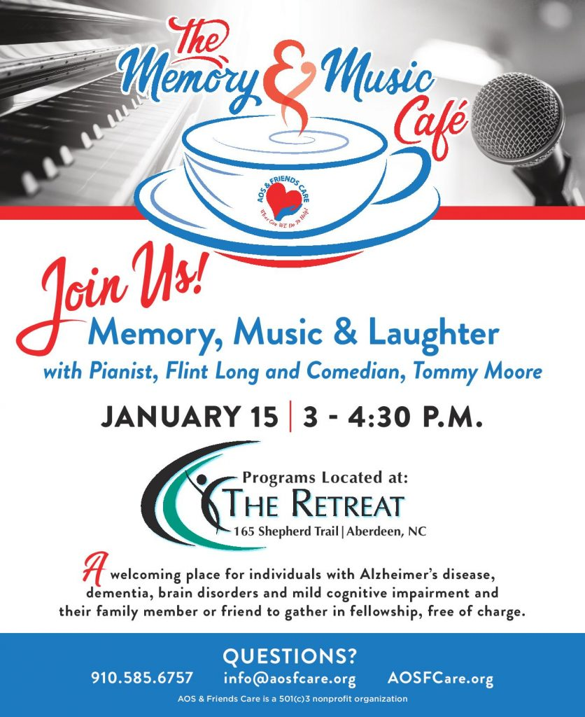 Memory Cafe Flyer for January 15th